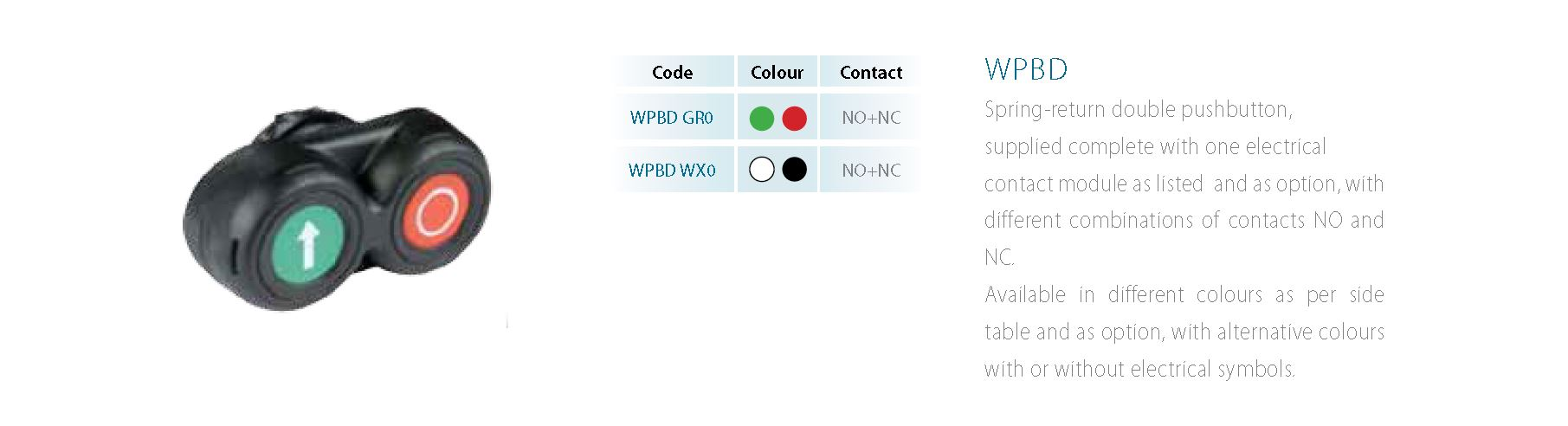 WPBD Spring-return double pushbutton, supplied complete with one electrical contact module as listed and as option, with different combinations of contacts NO and NC.